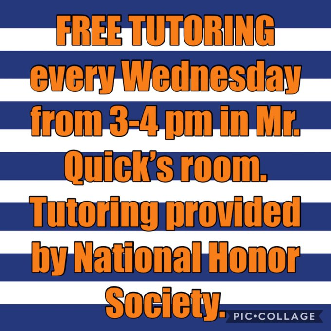 Free tutoring for FHS students provided by National Honor Society every Wednesday from 3-4 pm.