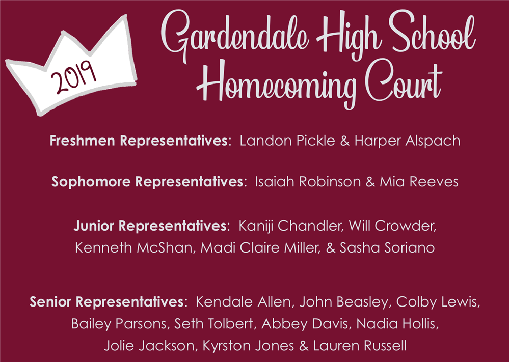 2019 Gardendale High School Homecoming Court