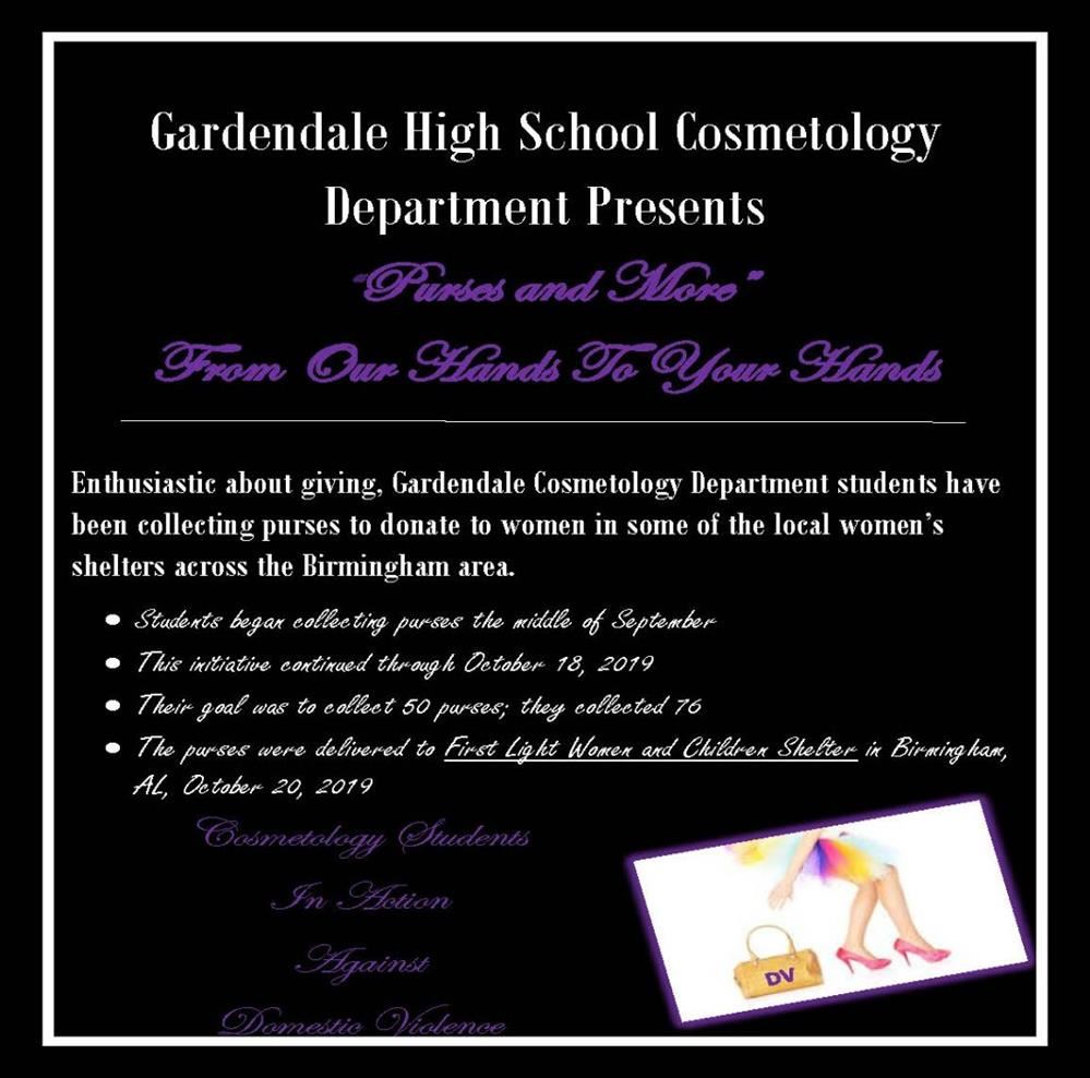 Gardendale High School Cosmetology information for Purses and More From Our Hands to your Hands