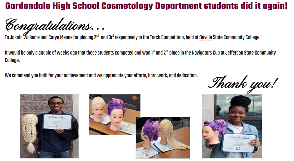 Gardendale High School Cosmetology Department students did it again!