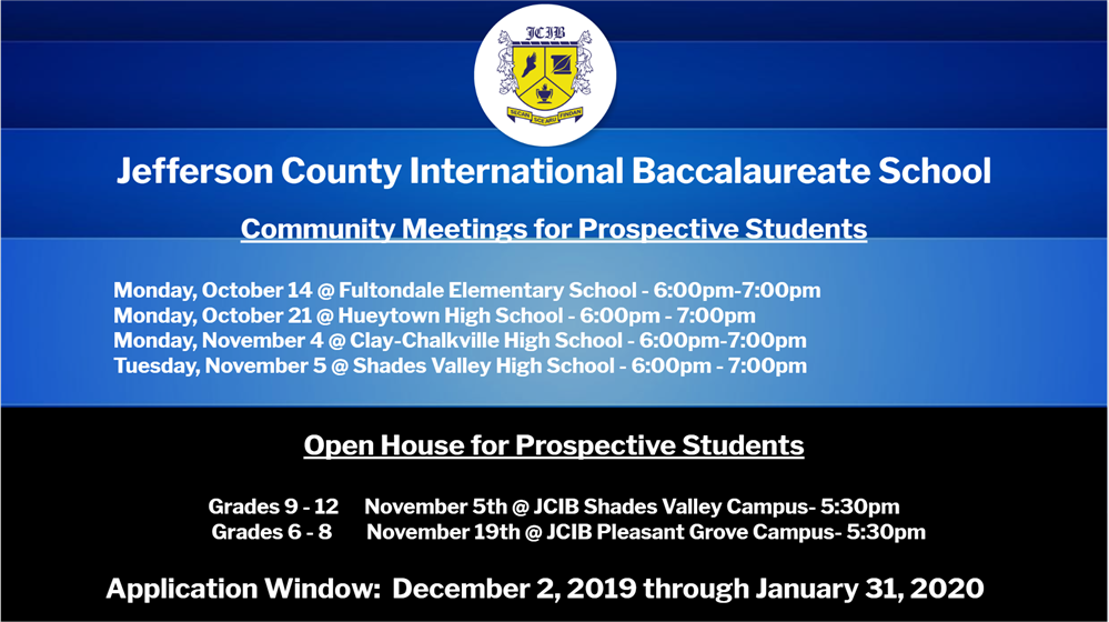 Photo of JCIB Community Meetings and Open House Dates. Please see text below picture for information within.
