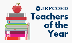 JEFCOED Teachers of the Year Graphic with books and apple