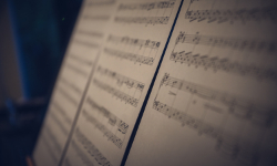 Blurred photo of sheet music