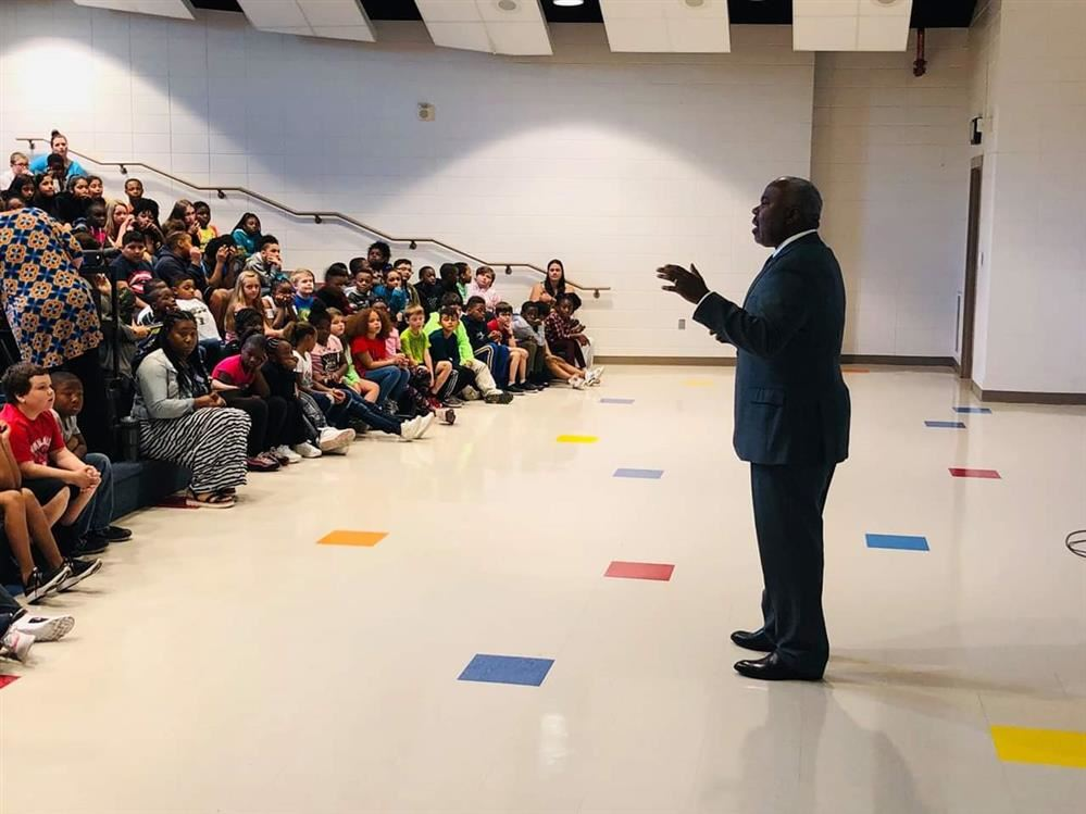 Alabama State University President, Dr. Quinton Ross, Jr. spoke to 3rd-5th grade students