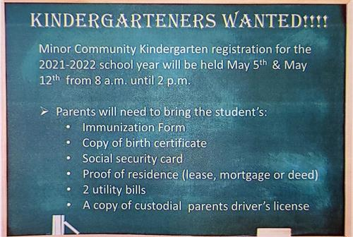 Kindergarteners Wanted