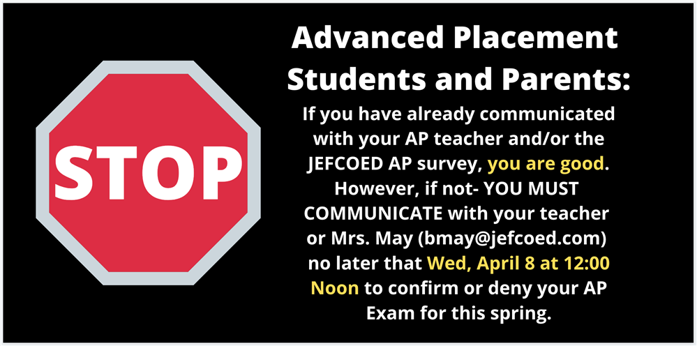 AP Students reminder about exams with red stop sign and black background