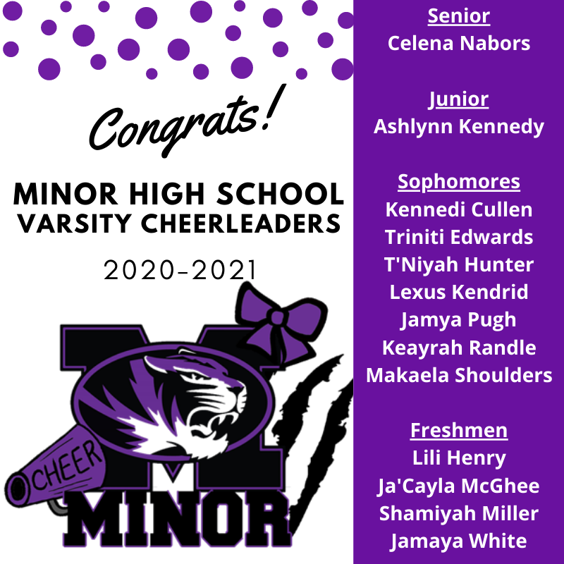 MHS 2020-2021 Cheer Leader Flyer with Names of the New Team- Purple and Black and White with MHS Tiger Head Logo