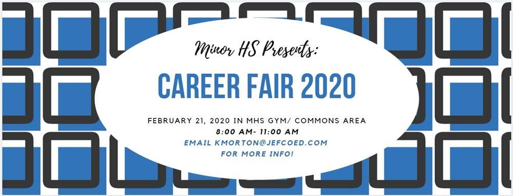 Career Fair logo with blue squares and date, time, and location