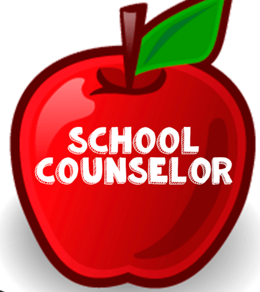 Red Apple with School Counselor written in white text in the middle