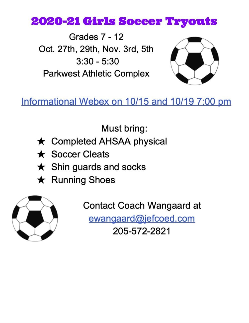 2020-2021 Girls Soccer Tryouts
