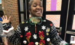 Mrs. Felder won the ugly sweater contest