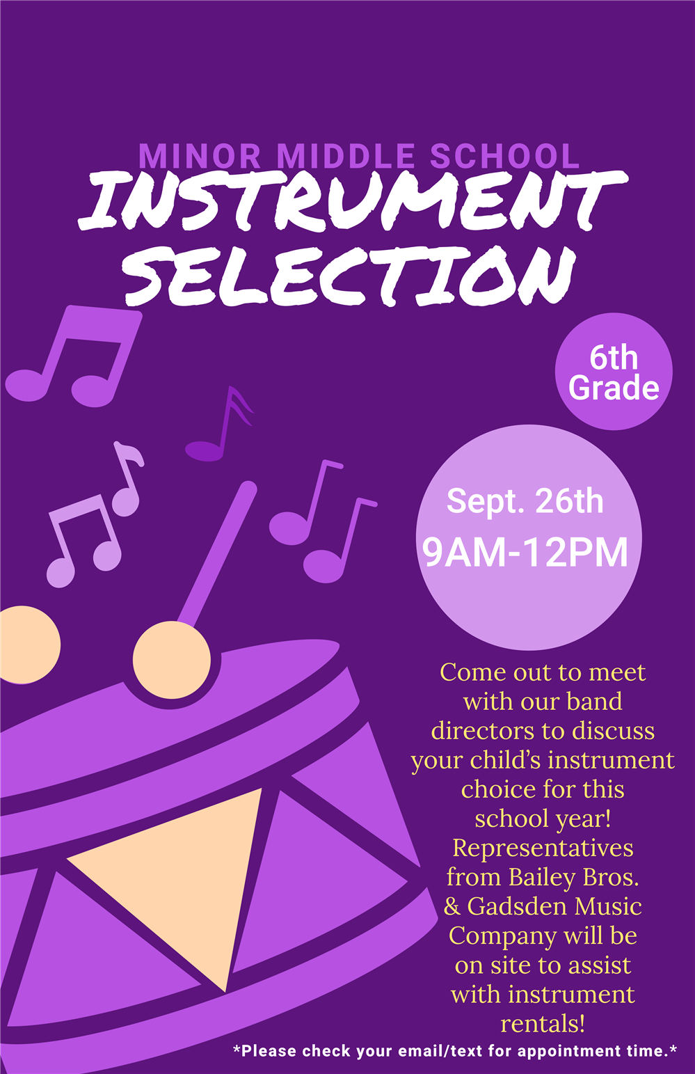 6th Grade Instrument Selection