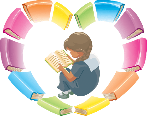 Heart made of books with little girl sitting in the middle reading a book.