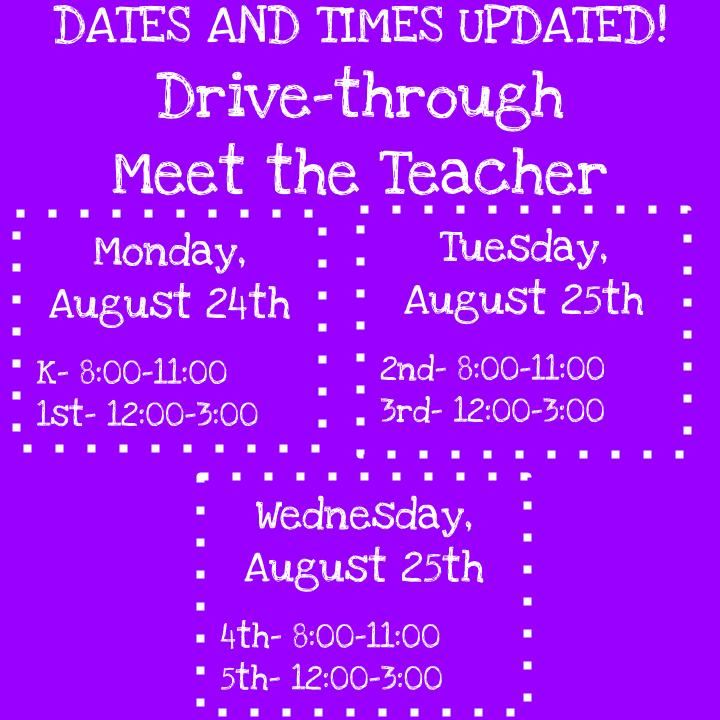 Meet the Teacher Updated Times